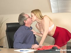 Filthy young blond accessory Rebecca Baneful gets intimate with her elderly boss