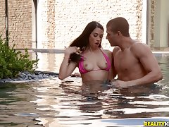Dazzling fuck by the pool is a paradise be required of horny brunette Alex Coal
